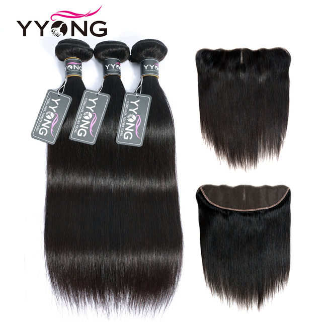 YYong 13x4 Lace Frontal With Bundles Peruvian Straight Bundles With Frontal Remy Human Hair Ear To Ear Lace Frontal With Bundles