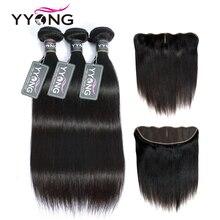 YYong 13x4 кружева фронтальные с пряди перуанские прямые пряди с фронтальной Remy человеческие волосы уха до уха Кружева Фронтальные с пряди