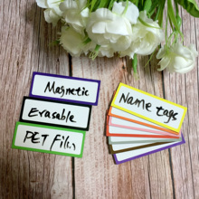 10 Pieces Magnetic Dry Erasable Labels 80*30mm Name Plate Writable Flexible Magnet Tags Sticky and Stickers