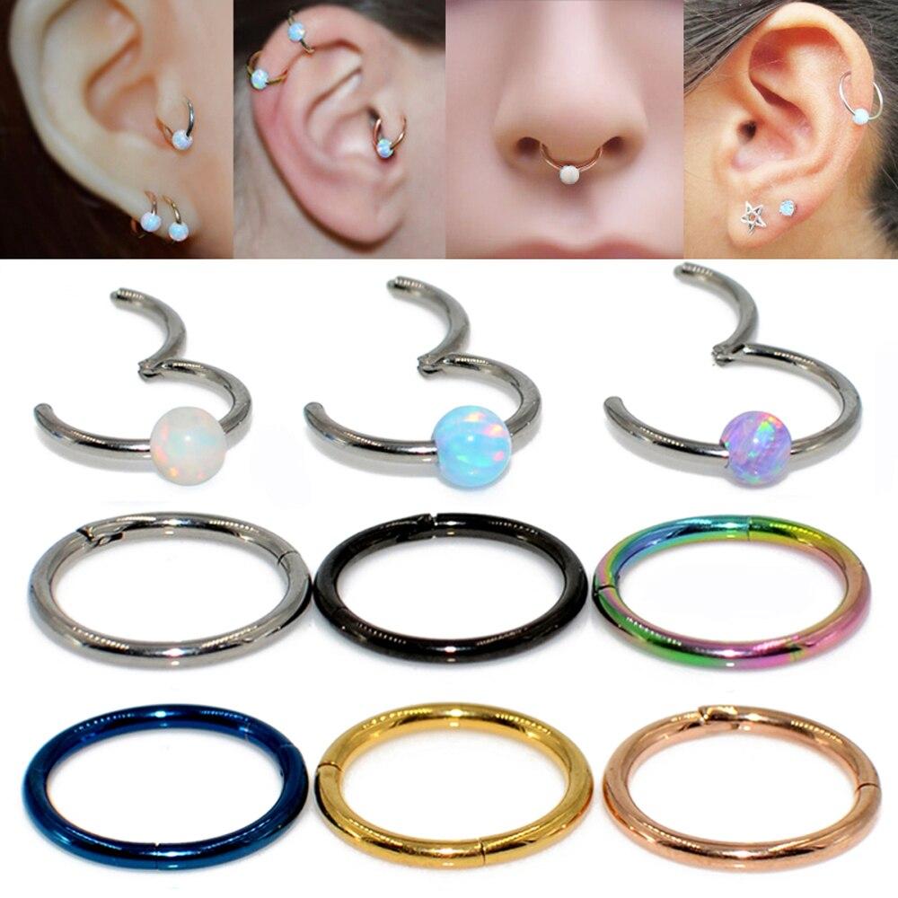1pc Titanium Hinged Opal Septum Clicker Nose Ring Labret Lip Ear