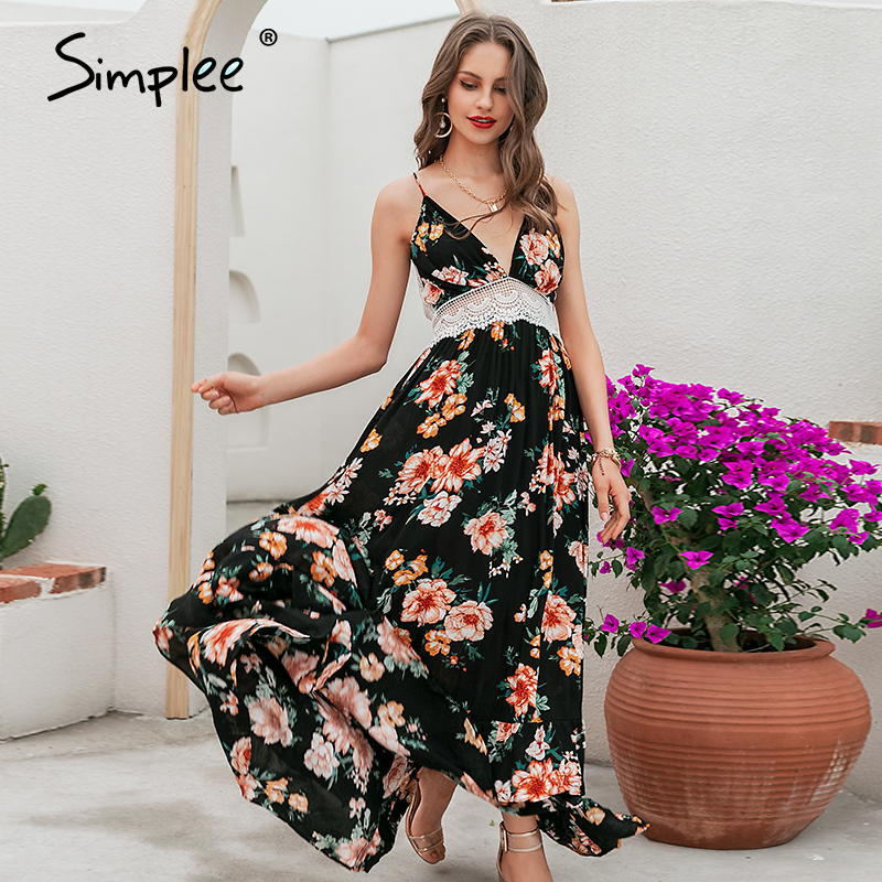 Simplee <font><b>Boho</b></font> print backless long <font><b>summer</b></font> <font><b>dress</b></font> <font><b>Women</b></font> floral deep v neck <font><b>sexy</b></font> <font><b>dress</b></font> <font><b>2018</b></font> White lace loose beach <font><b>dress</b></font> vestidos image