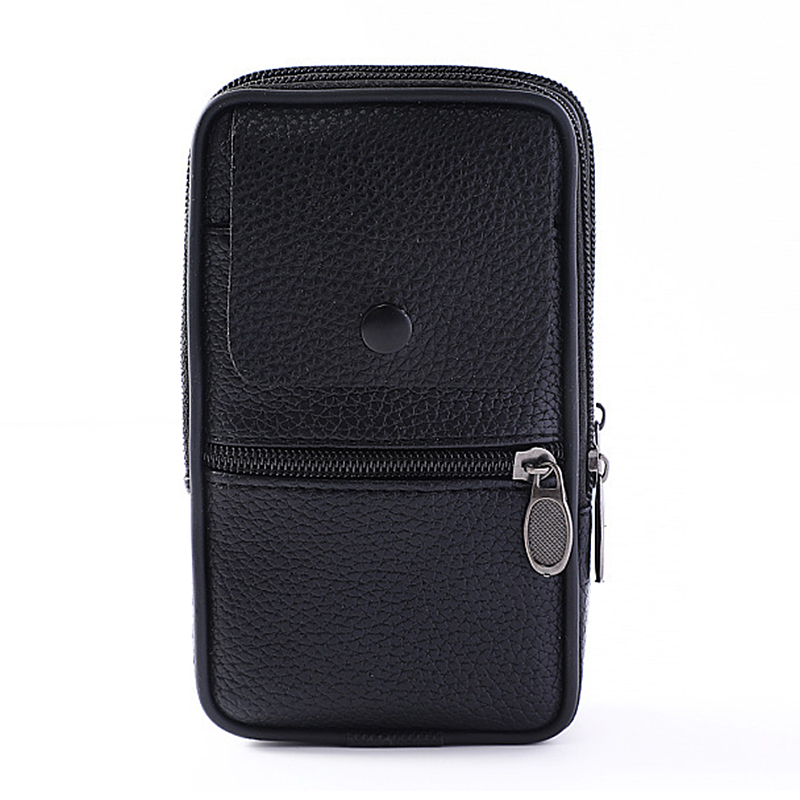 Business Men's Leather Waist Phone Pack Zipper Belt Flap Bag Coin Purse PU Leather Classic Fanny Pack Male Card Holder Wallet