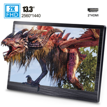 13.3 inch mini HDMI portable monitor 2K 2560 x 1440 HDR for Ps4 Xbox gaming PC laptop monitor PC LCD screen with smart case недорого