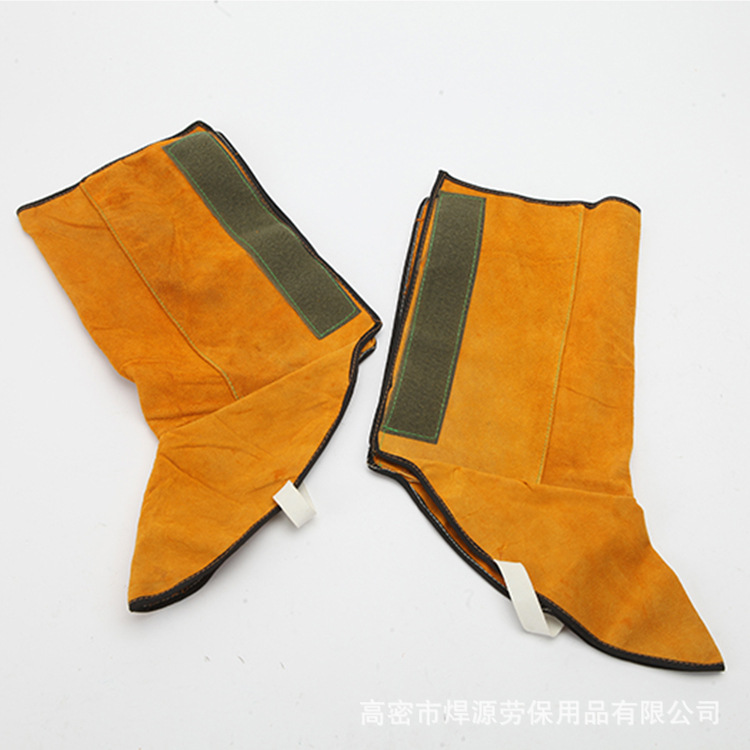 Long Cowhide Labor Safety Electric Welding Safe Booties Welder Shoes Cover Legguard Wear-Resistant Fire Prevention Flower Protec