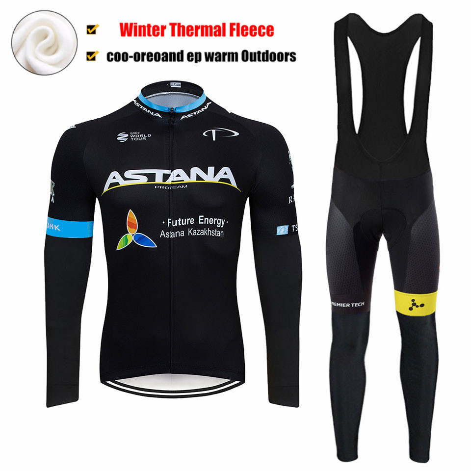 2019 Black ASTANA TEAM winter thermal fleece Cycling JERSEY Bike Pants set Men's Ropa Ciclismo 9D cycling Maillot Culotte wear