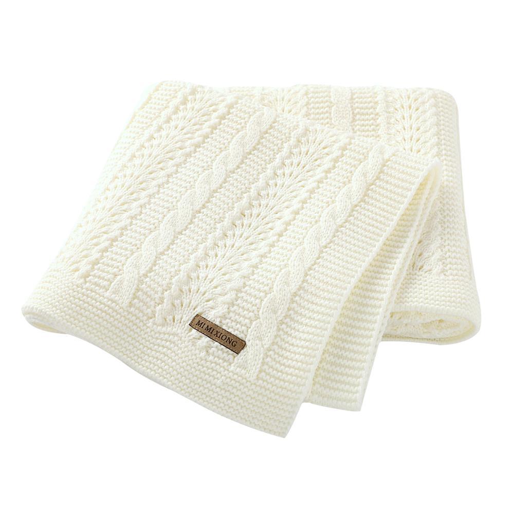 Baby Blankets Swaddle Wrap 100*80cm Solid Newborn Bebes Stroller Bedding Basket Blanket Super Soft Children Knitted Quilts Cover