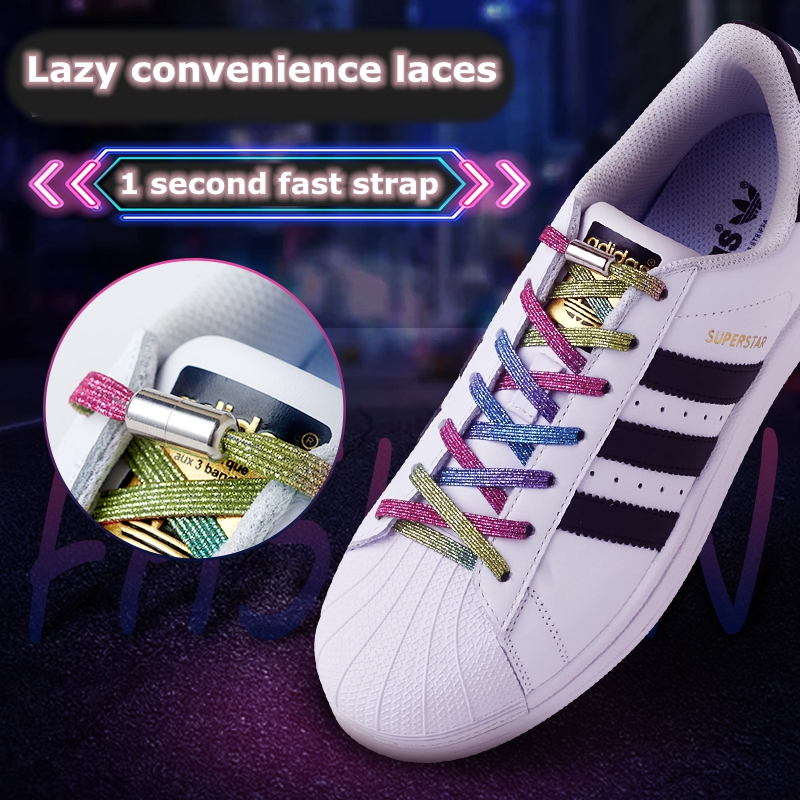 1Pair Elastic Locking Shoelaces Flats No Tie Shoelace Quick Sneakers Locking Shoe Laces Kids Adult Women Men Shoes Lace Strings