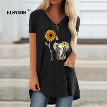 21 spring and summer new style loose casual fashion trend V-neck cute animal print short-sleeved pullover T-shirt ladies top