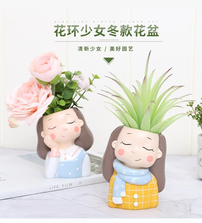 Creative Resin Succulent Plant Pots Mini Flower Pot Decorative Desktop Flowerpot Fairy Garden Home Garden Decoration-14 (1)