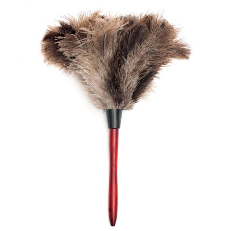 Anti-static Natural Ostrich Feather Fur Dust Duster Cleaning Brush Tool Wooden Handle Dust Household Cleaning Tool(China)