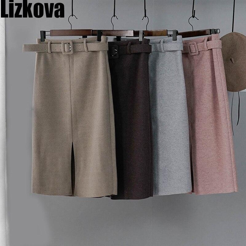 Women Winter Skirt Pink Wool High Waist Midi Skirt With Belt Warm Elegant Pencil Split Skirts