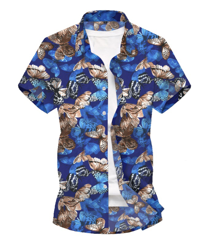 2020 Men New Summer Short-sleeved Shirt Butterfly 3D Printed Design Fashion Personality Casual Short-sleeved Floral Shirt