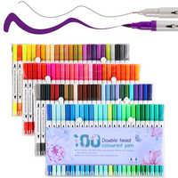 48/80/100 Colors Fine Liner Drawing Painting Watercolor Art Marker Pen Dual Tip Brush Pen For School Markers Pen Art Supplies