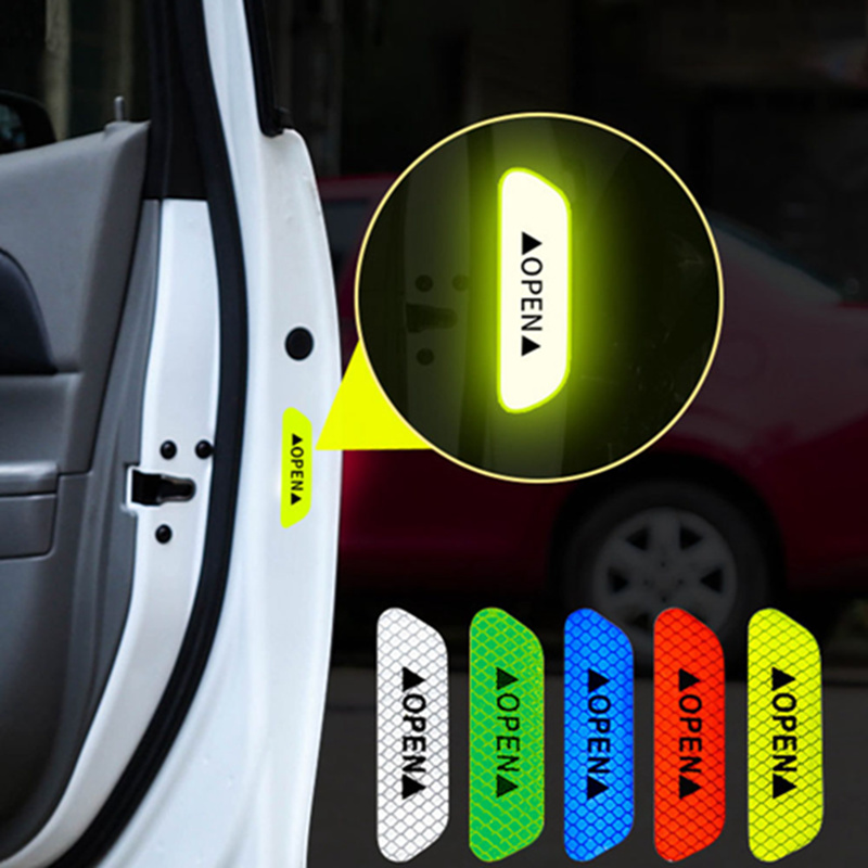 4pcs/set Car Door Open Type Reflective Safety Warning Sticker Mark Night Driving Safety Car Door Stickers