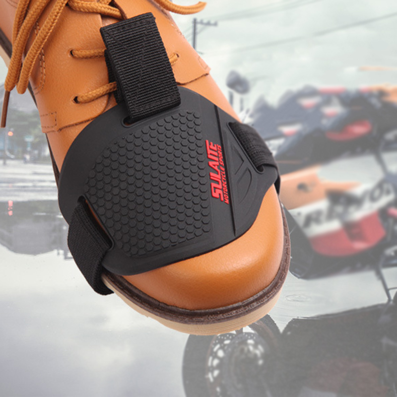 1PC Black Boot Shoes Protector Shift Protective Guard Soft TPU+ Non-slip Woven Belt Motorcycle Shifter Cover Free Size  Car Part