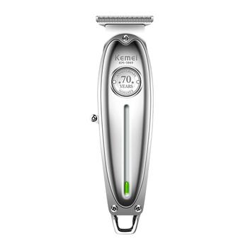 Całkowicie metalowe do włosów trymer profesjonalny clipper do fryzjera akumulator mężczyźni elektryczna golarka do brody baldheaded ścinanie włosów maszyna tanie i dobre opinie Kemei EU plug Maszynka do włosów KM-1949