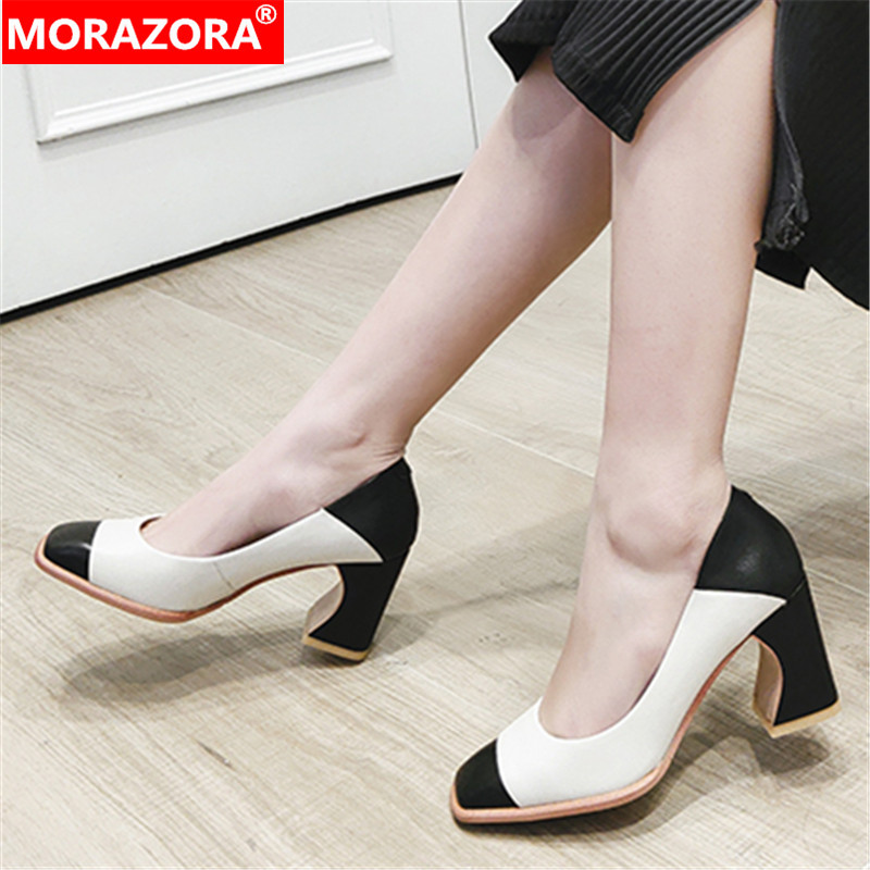 MORAZORA New 2020 Summer Women Pumps Fashion Genuine Leather Shallow Shoes Woman High Heels Square Toe Dress Shoes