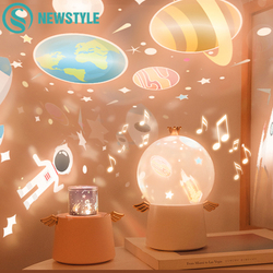 Проектор звездного неба, ночник, светильник, музыкальная шкатулка, светодиодный, заряжаемый, вращающийся, Вселенная, Ocaen, цветной, мигающий, ...