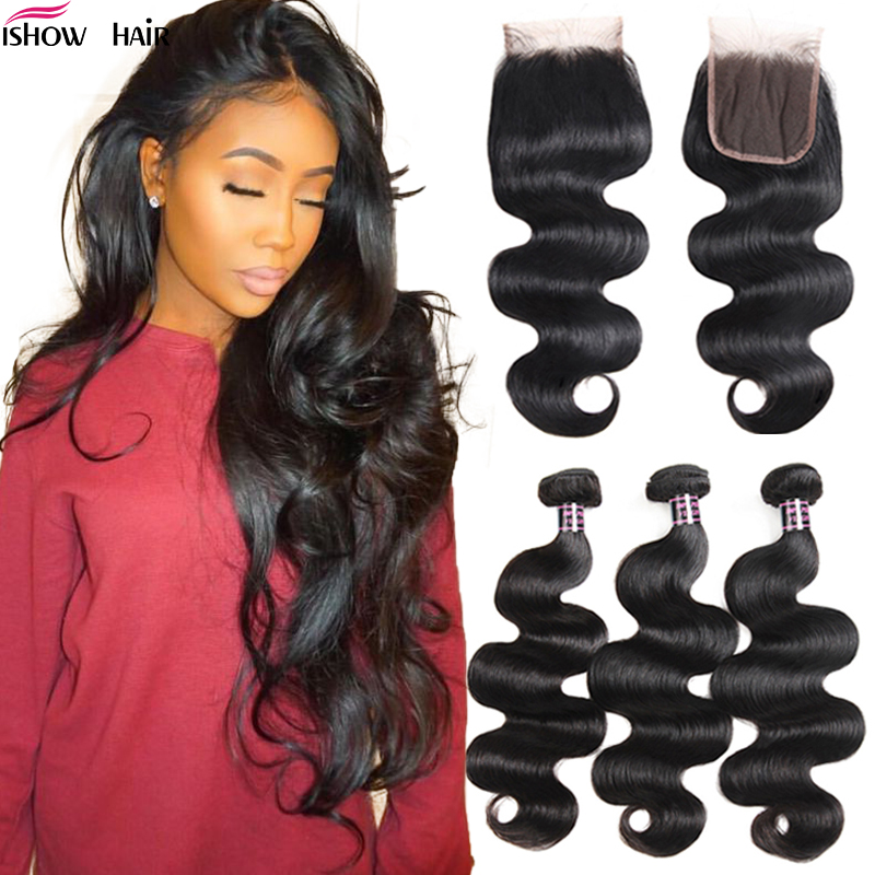 Ishow Body Wave Transparent Lace Closure With Bundles Non-Remy Human Hair Bundles With Closure Malaysian Bundles With Closure