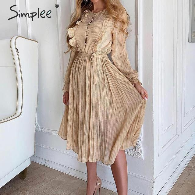 Просто, элегантно женское платье в горошек шикарное Плиссированное длинное вечернее платье с оборками на рукавах Повседневная рабочая одежда женское осенне зимнее теплое платье