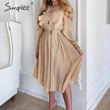 Simplee elegancki kobiety kropki sukienka Chic rękaw z falbankami plisowana długa sukienka na przyjęcie w stylu casual, biurowy nosić panie jesienno-zimowa ciepła sukienka