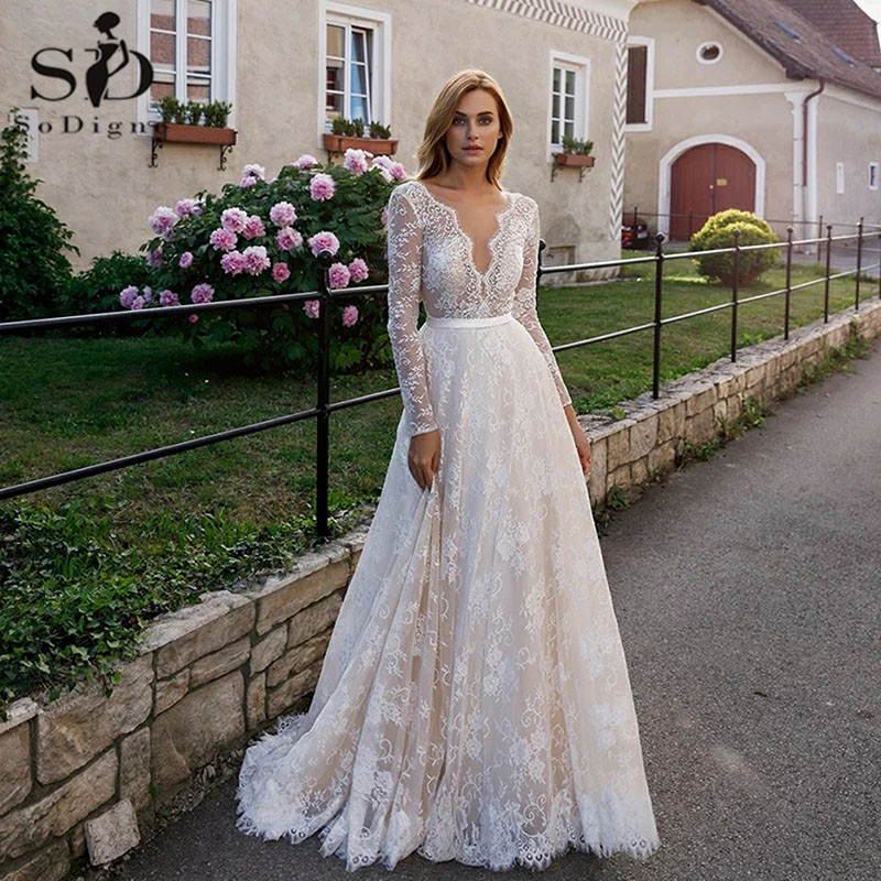 SoDigne Elegant Lace Champagne Wedding Dresses Sexy V-neck Illusion Backless Long Sleeve Boho Beach Bridal Gown Formal Marriage