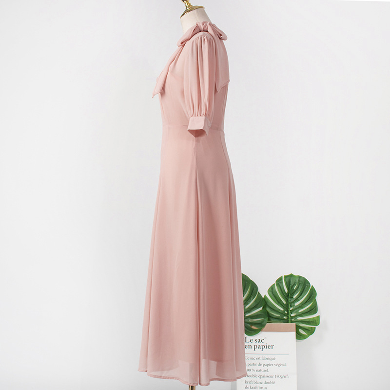 Image 5 - Pink Scarf Collar dress  for women DEL LUNA Hotel same IU платье летнее Korean  summer Gifts Birthday Christmas Clothes wear-in Dresses from Mother & Kids