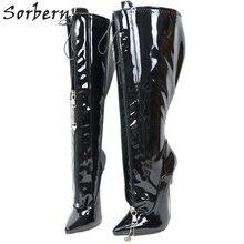 Sorbern قابل للقفل سستة النساء أحذية مخصصة واسعة تناسب العجل 18 سنتيمتر المعادن عالية الكعب خنجر الركبة عالية Ladie التمهيد Ladyboy الوثن التمهيد