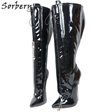 Sorbern Lockable Zipper Women Boots Custom Wide Fit Calf 18Cm Metal High Heel Stilettos Knee High Ladie Boot Ladyboy Fetish Boot
