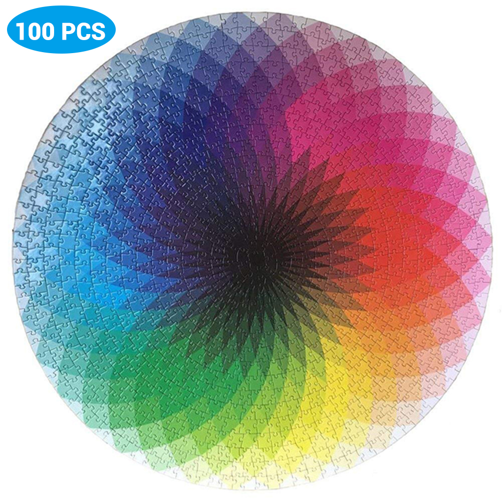 Adults Kid Puzzles Game 1000 Pcs Round Jigsaw Puzzles Rainbow Palette  Intellectual Family Game For Adults Kids Gift DIY Puzzles