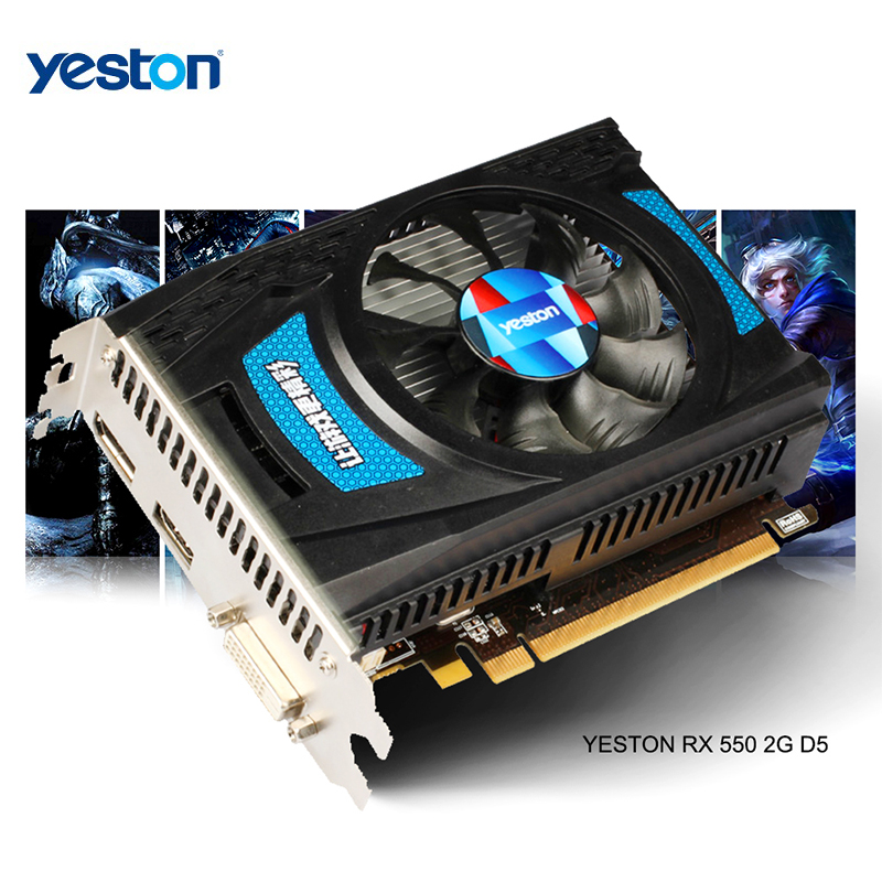 Yeston Radeon <font><b>RX</b></font> <font><b>550</b></font> GPU 2GB GDDR5 128bit Gaming Desktop computer PC Video Graphics Cards support DVI-D/HDMI PCI-E 3.0 image