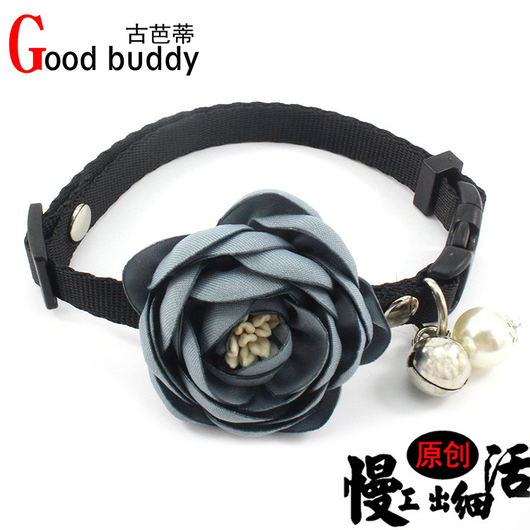 Debutante-Style Handmade Flower Pet Collar Copper Bell Small And Medium Dog Neck Ornaments Pearl Cat Tie Lanyard