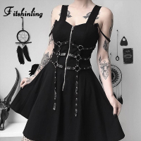 Fitshinling 2019 Punk Spaghetti Strap Backless Dresses Goth Dark Zipper Up Belt Party Dress Cotton Soft Vintage Harajuku Dress