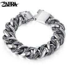 Мужской винтажный браслет ZABRA, браслет из серебра 925 пробы с растительным тотемом, в стиле панк рок, ювелирные изделия для байкеров