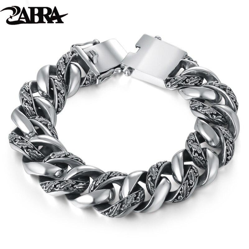 ZABRA Plant Totem Genuine 925 Silver Bracelets Punk Rock Vintage Heavy Sterling Silver Bracelet Men Luxury Male Biker Jewelry-in Chain & Link Bracelets from Jewelry & Accessories