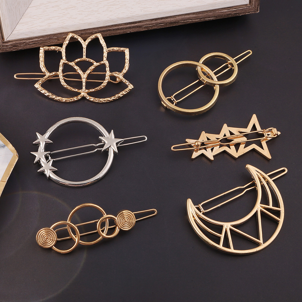 2020 New Women Metal Hair Clip Geometric Hairpin Gold Moon Round Hairgrip Barrette Girls Hair Accessories Styling Tools