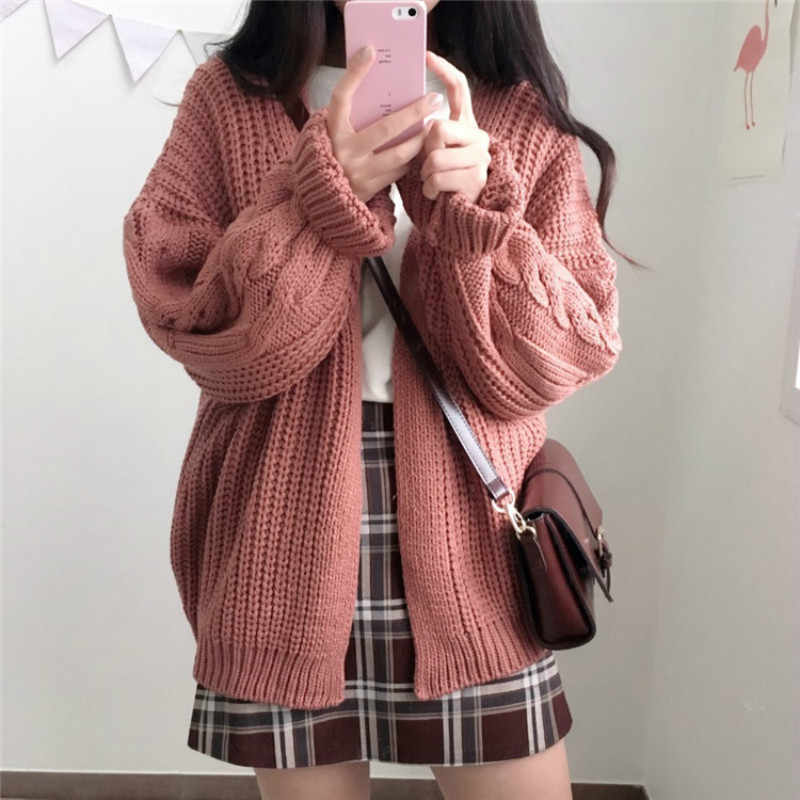 겨울 새로운 느슨한-긴팔 트위스트 니트 스웨터 카디건 가을 따뜻한 코트 여성 두꺼운 좋은 품질 6668COLW683