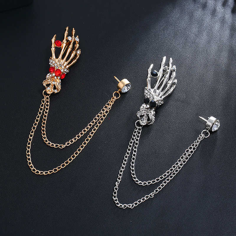 DIY zincir kadınlar için erkekler için kristal taç geyik kafası kafatası kanatları broş pimleri Charm noel takı hediyeler Dropshipping