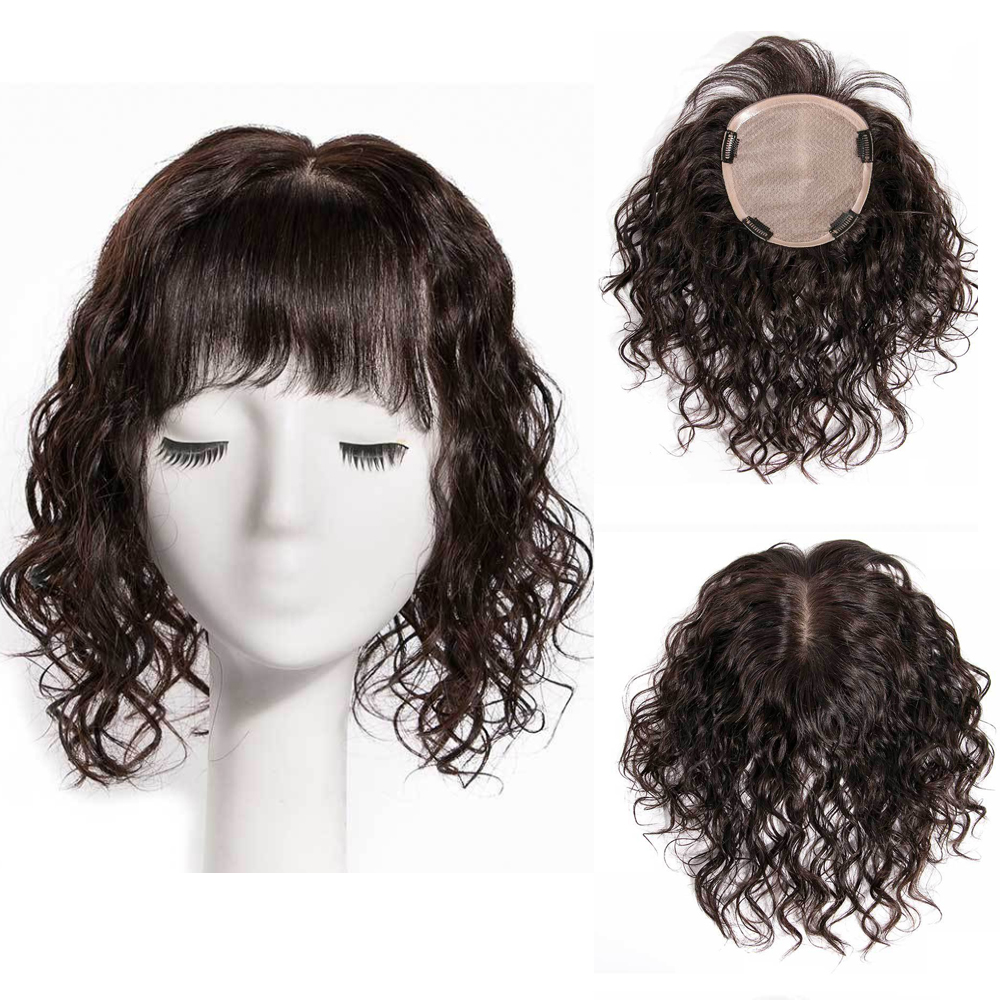 Silk Hair Peruvian Human Hair Toupee For Women Lace With UP Shaped Silk Base Replacement Loose Wave With Clips For Less Hair