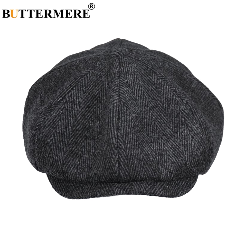 BUTTERMERE Newsboys Beret Herringbone Men Flat Caps Wool Casual Winter Tweed Female England Style Classic Octagonal Hats And Cap