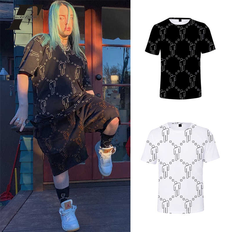 Billie Eilish t shirt Same paragraph black white letter streetwear 2019 summer tshirt new tee shirt Top clothes plus size