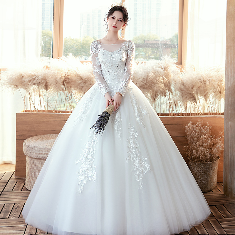 Luxury Long-sleeved Wedding Dress 2020 New Bride Dream Lace Up Wedding Dresses Bride Embroidery Plus Size Dresses Ball Gowns