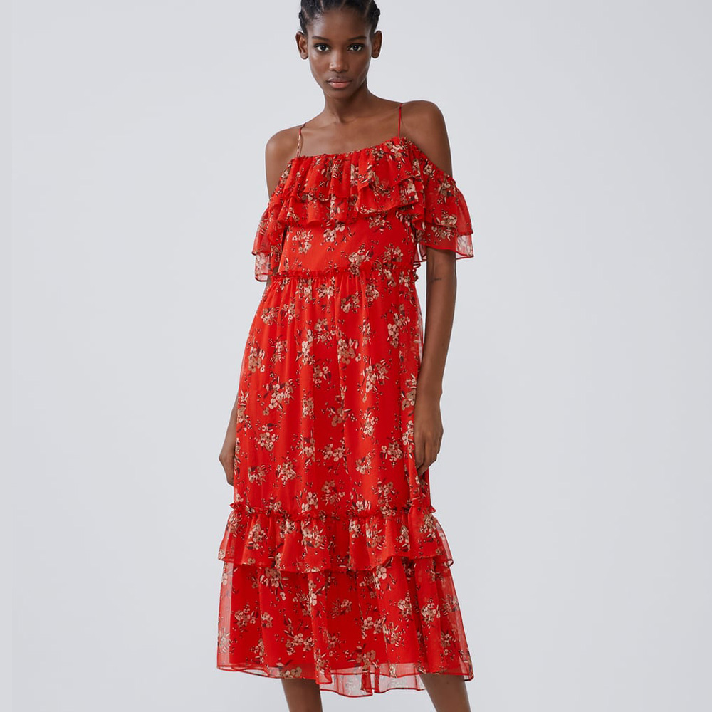 Red ZA 2019 New Printed Strap Dress Women Clothes in Autumn Winter Fashion Casual Bohemian Dress Gift Party Vacation Wholesale