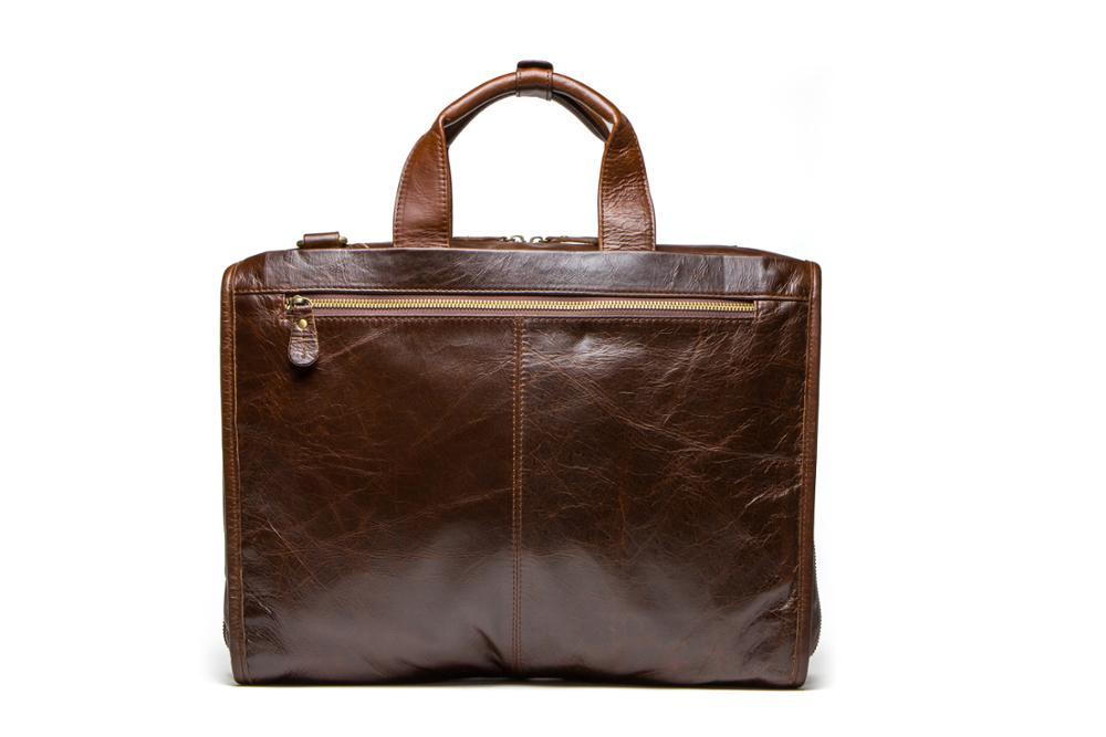 Leather business briefcase men's one shoulder satchel leisure computer bag