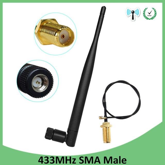 5 pces 433 mhz antena 5dbi sma conector macho dobrável 433 mhz antena direcional + 21cm RP SMA/u. fl trança cabo