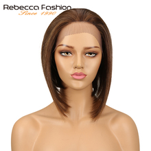 Rebecca Peruvian 4x4 Lace Front Human Hair Wigs For Women Remy Straight Hair Short Bob Wig Blonde Brown 99J Colors Free Shipping все цены