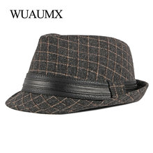 Wuaumx NEW Arrival Unisex Jazz Hats Men Women Casual Panama Hat Plaid Fedoras Hat For Male Autumn Winter Bowler Caps Wholesale
