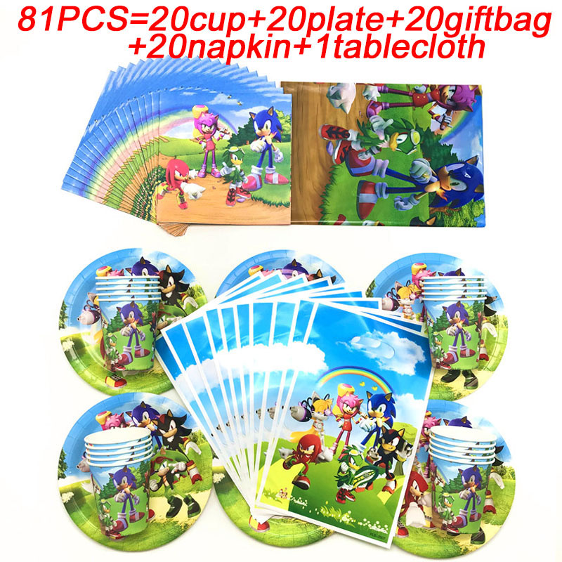 Sonic The Hedgehog Theme Birthday Gift Bags For Kids Favors Tableware Sonic The Hedgehog Party Supplies Decorations Set 81pcs Disposable Party Tableware Aliexpress