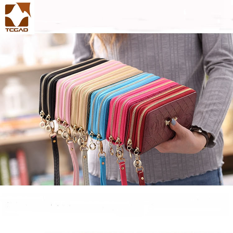 Leather Female Wallet Dual Zippers  3D Rose Print Luxury Clutch Bag Big Capacity Compartment Phone Wallet Female Leather Purse