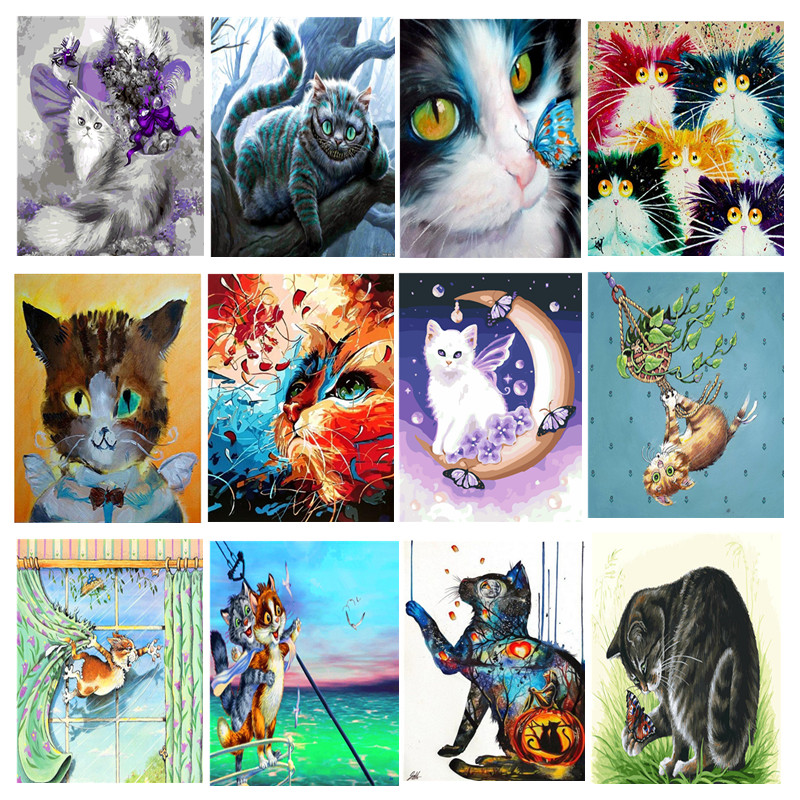 DIY Framed Cat Oil Painting By Numbers Animal Anime Colorful Paint Painting Pictures Wall Art Picture For Living Room Home Decor